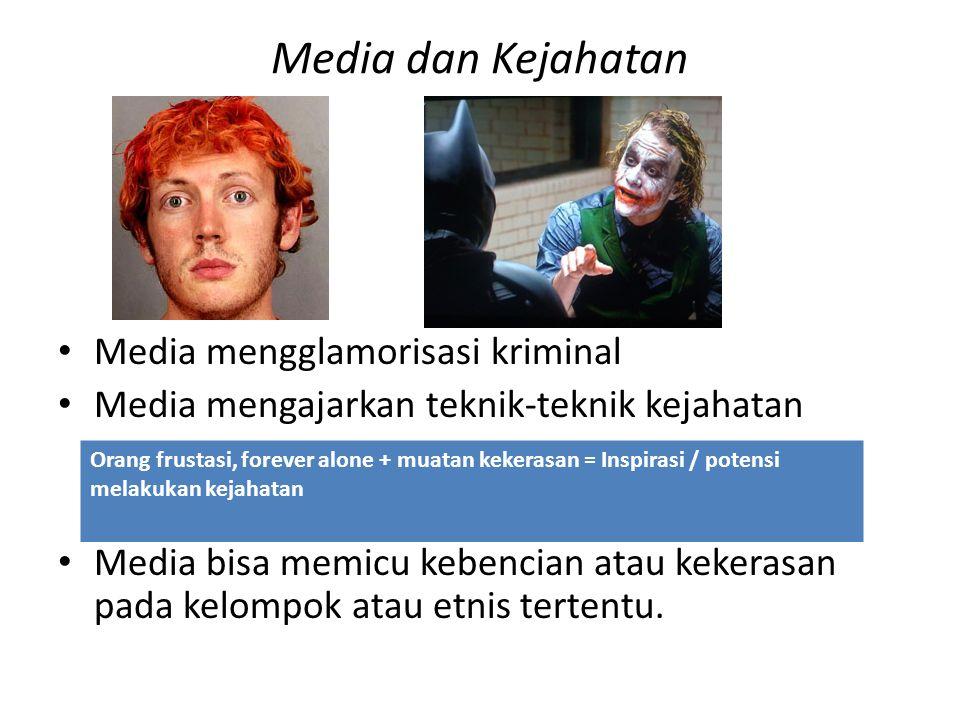 Media dan Kejahatan Media mengglamorisasi kriminal