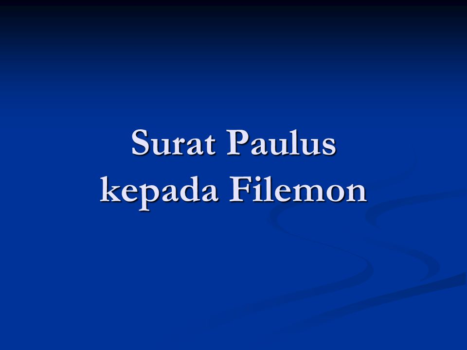 Surat Paulus kepada Filemon