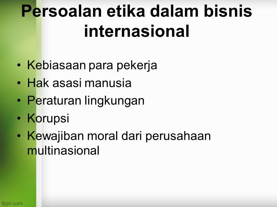 Persoalan etika dalam bisnis internasional