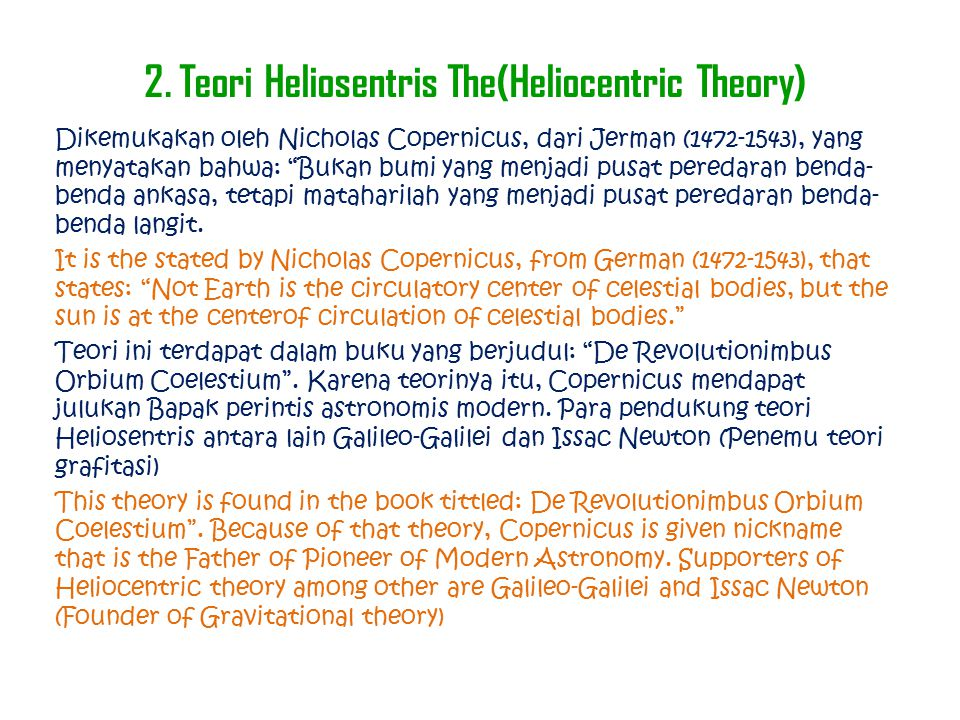 2. Teori Heliosentris The(Heliocentric Theory)