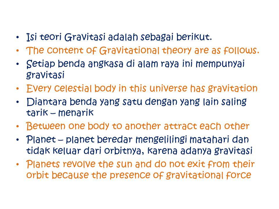 Isi teori Gravitasi adalah sebagai berikut.