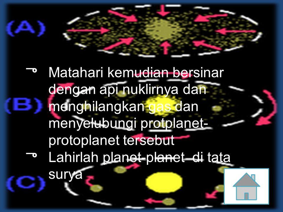Matahari kemudian bersinar dengan api nuklirnya dan menghilangkan gas dan menyelubungi protplanet-protoplanet tersebut