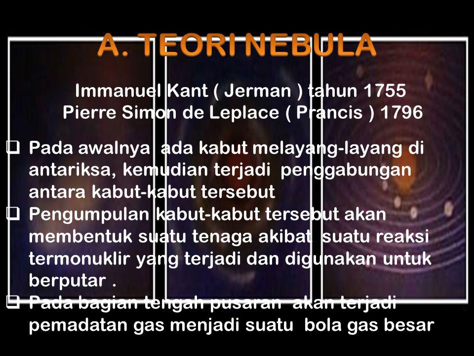 A. TEORI NEBULA Immanuel Kant ( Jerman ) tahun 1755