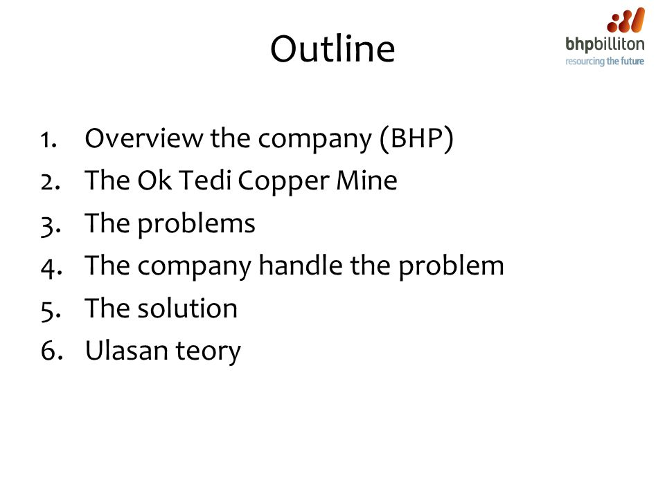 Outline Overview the company (BHP) The Ok Tedi Copper Mine