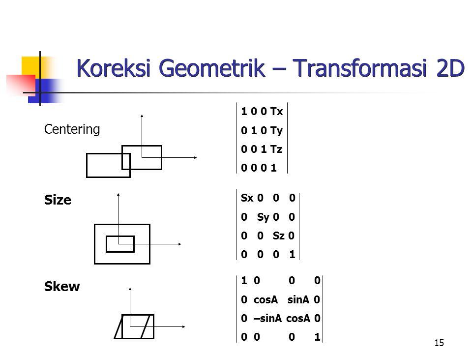 Koreksi Geometrik – Transformasi 2D