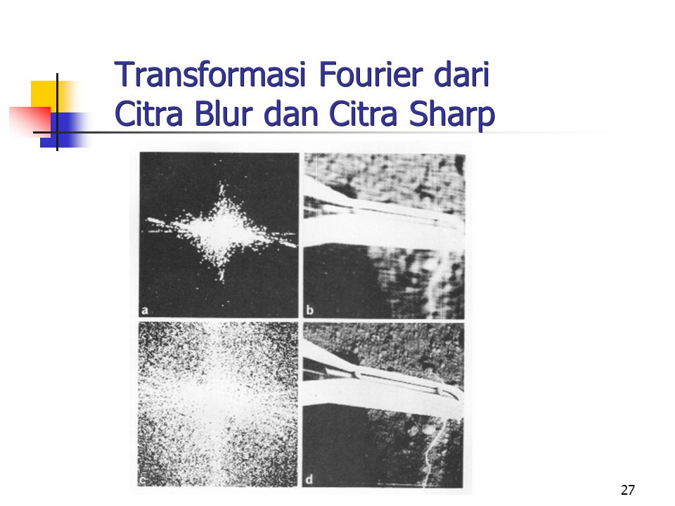 Transformasi Fourier dari Citra Blur dan Citra Sharp