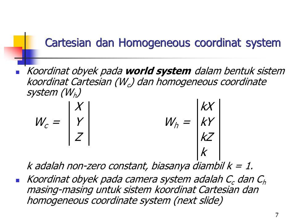 Cartesian dan Homogeneous coordinat system