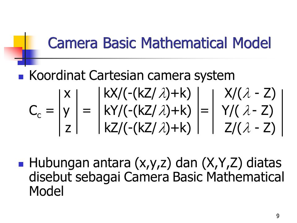 Camera Basic Mathematical Model