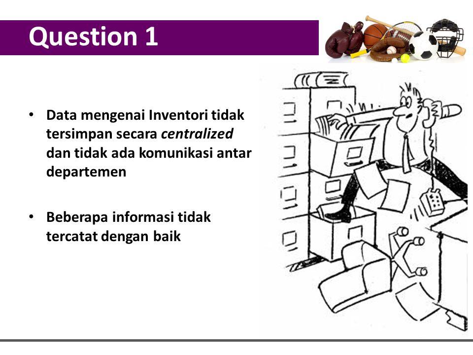 Question 1 Data mengenai Inventori tidak tersimpan secara centralized dan tidak ada komunikasi antar departemen.