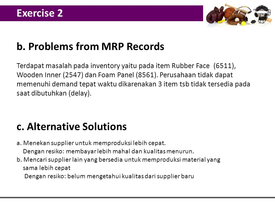 b. Problems from MRP Records