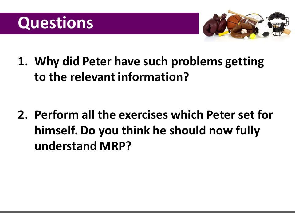 Questions Why did Peter have such problems getting to the relevant information