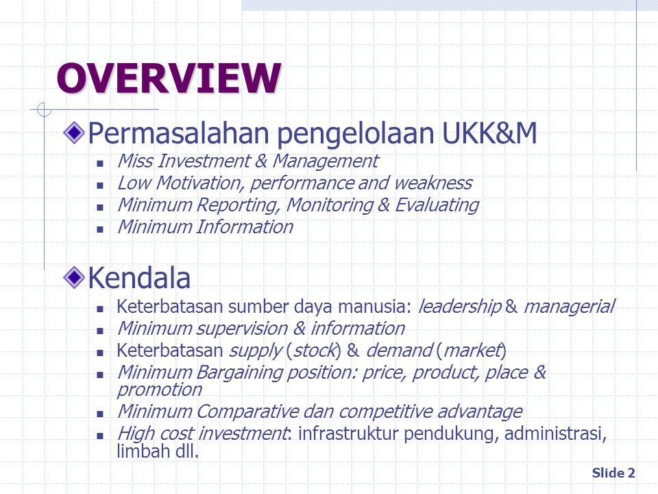 OVERVIEW Permasalahan pengelolaan UKK&M Kendala