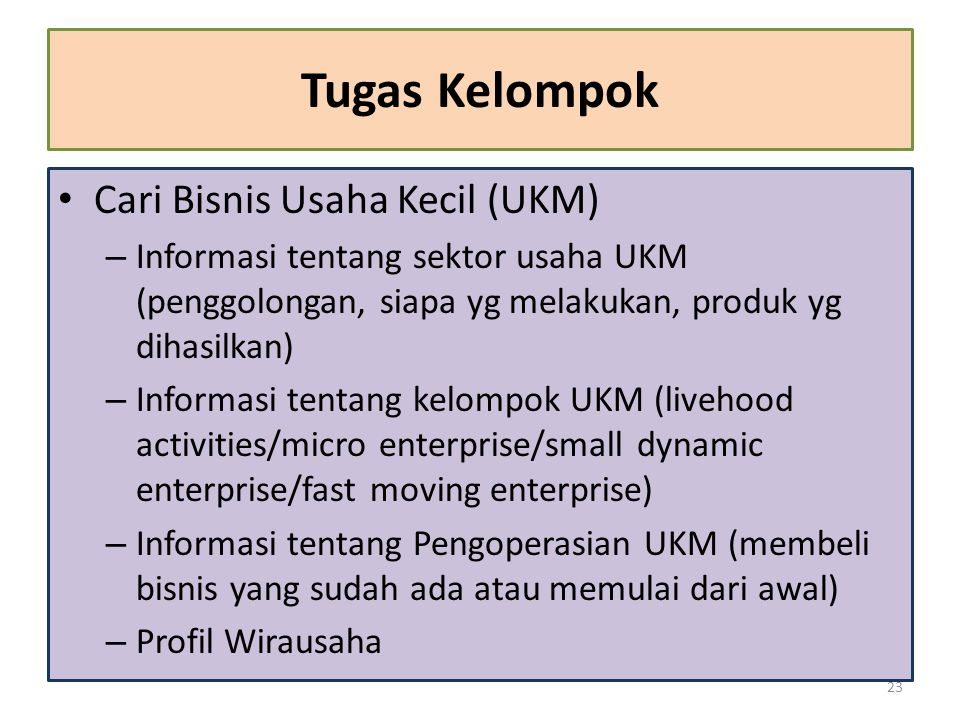 Tugas Kelompok Cari Bisnis Usaha Kecil (UKM)