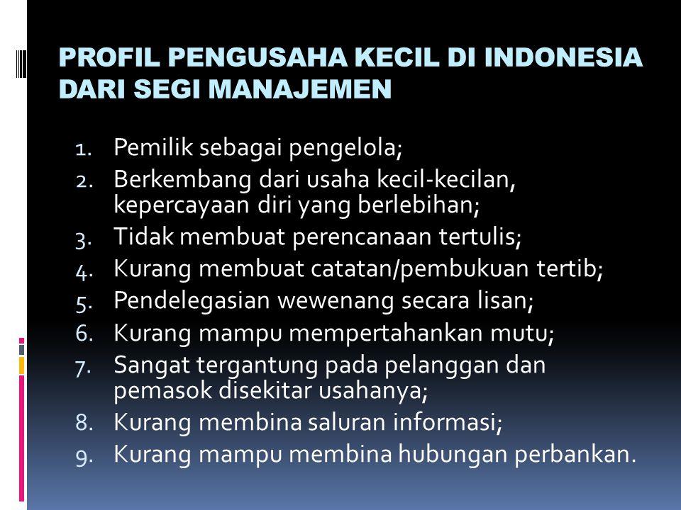 PROFIL PENGUSAHA KECIL DI INDONESIA DARI SEGI MANAJEMEN