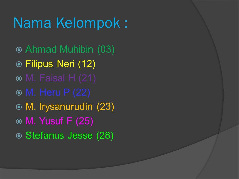 Nama Kelompok : Ahmad Muhibin (03) Filipus Neri (12) M. Faisal H (21)