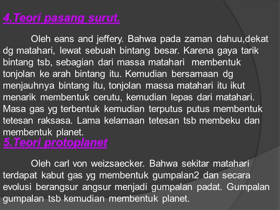 4.Teori pasang surut. 5.Teori protoplanet