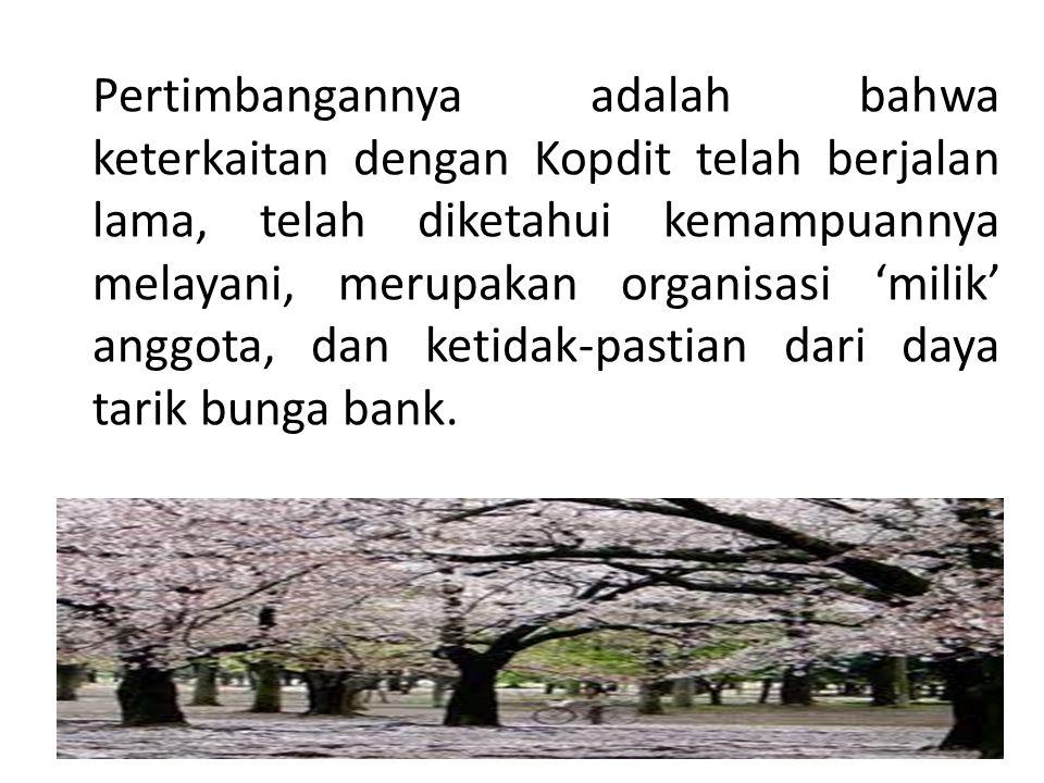 Pertimbangannya adalah bahwa keterkaitan dengan Kopdit telah berjalan lama, telah diketahui kemampuannya melayani, merupakan organisasi 'milik' anggota, dan ketidak-pastian dari daya tarik bunga bank.