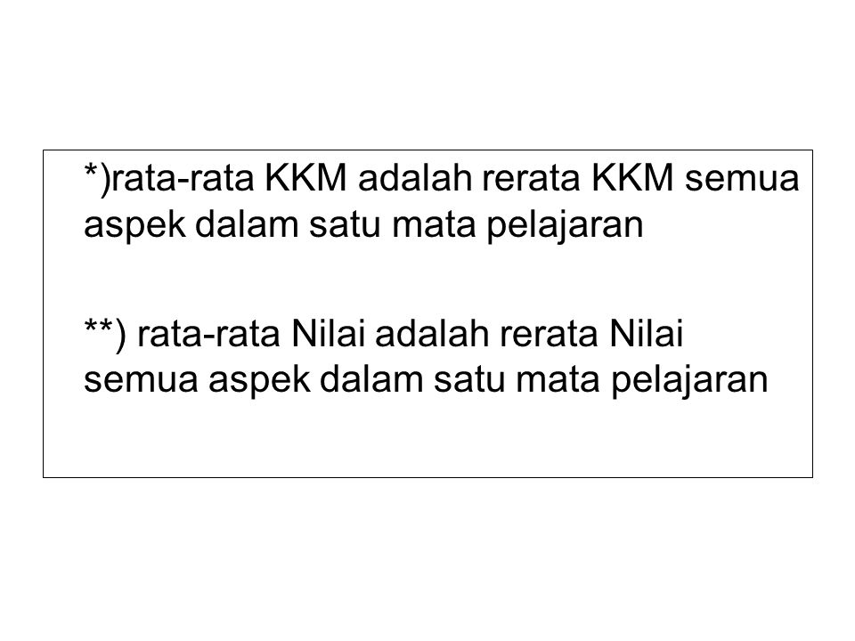 *)rata-rata KKM adalah rerata KKM semua aspek dalam satu mata pelajaran