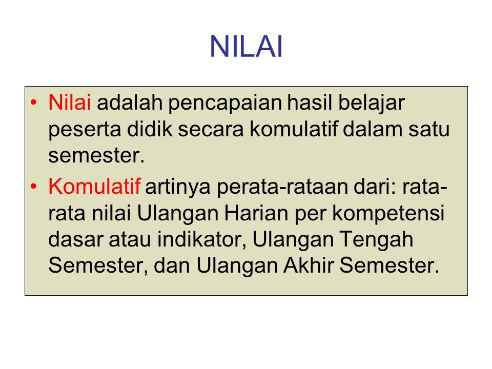 NILAI Nilai adalah pencapaian hasil belajar peserta didik secara komulatif dalam satu semester.