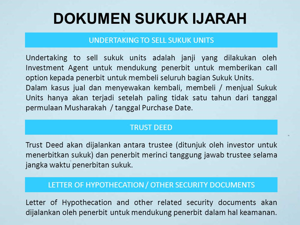 DOKUMEN SUKUK IJARAH UNDERTAKING TO SELL SUKUK UNITS