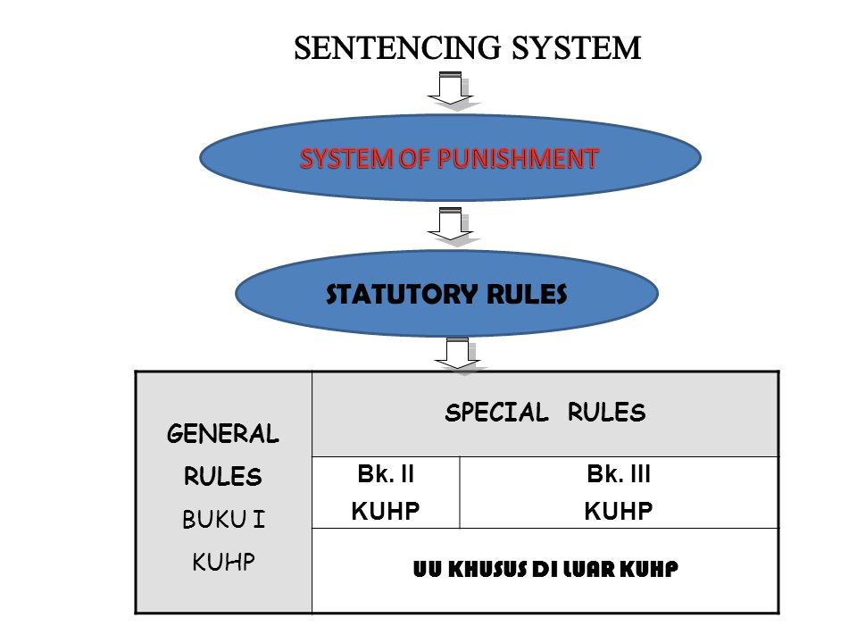 SENTENCING SYSTEM SYSTEM OF PUNISHMENT STATUTORY RULES BUKU I KUHP