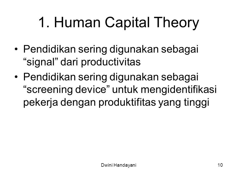 1. Human Capital Theory Pendidikan sering digunakan sebagai signal dari productivitas.