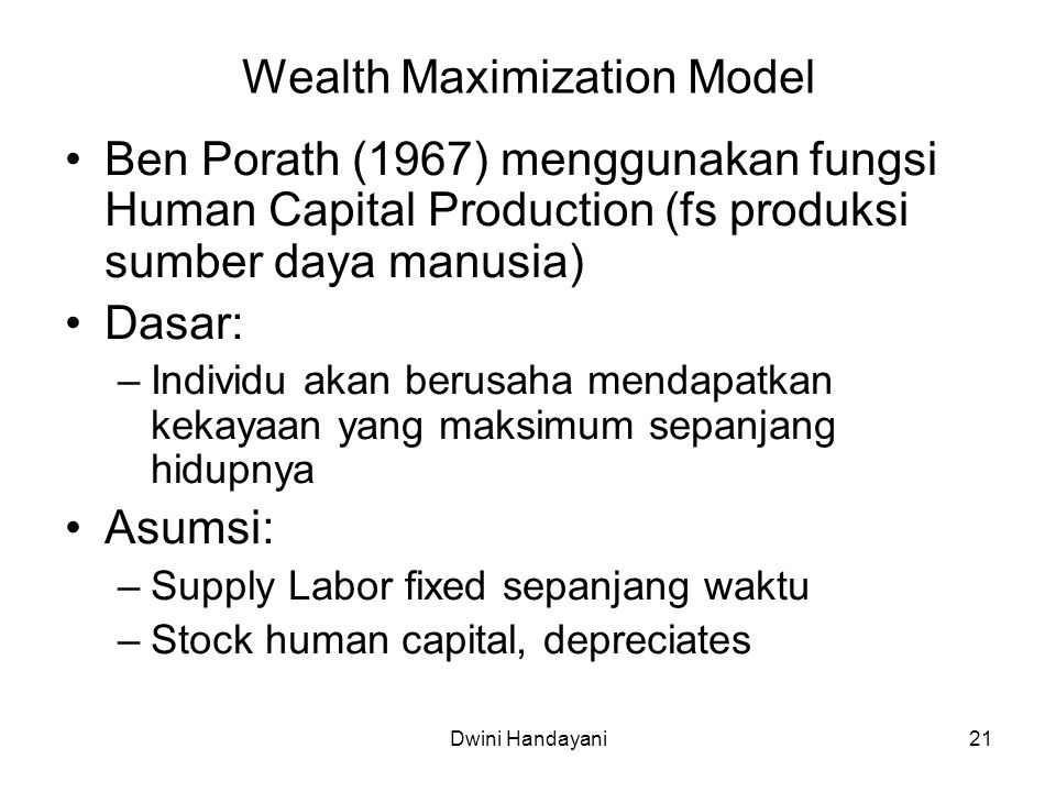 Wealth Maximization Model