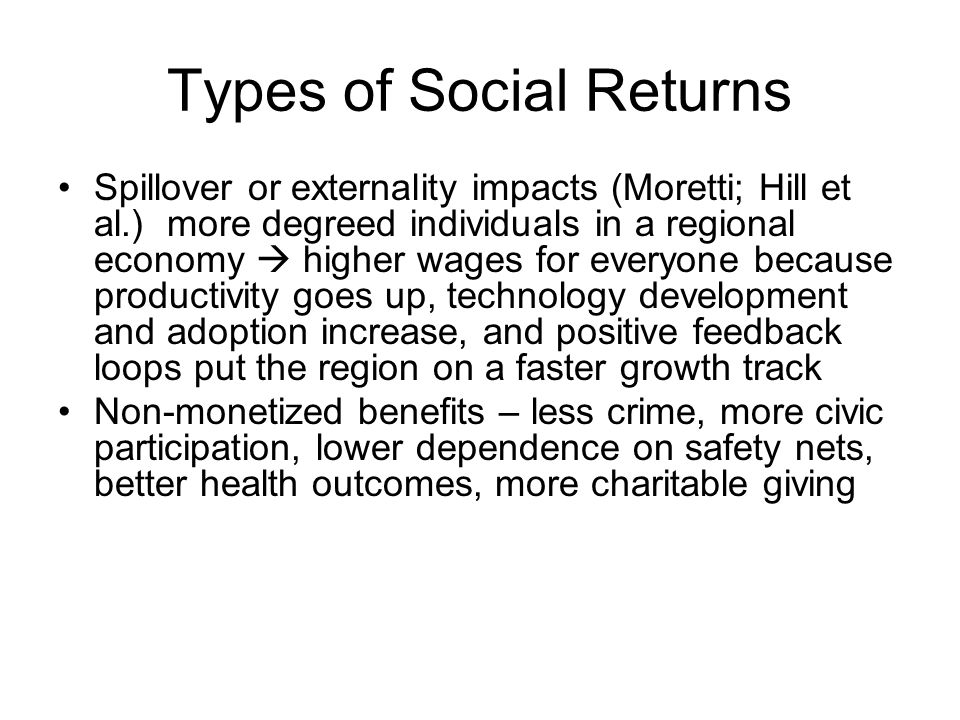 Types of Social Returns