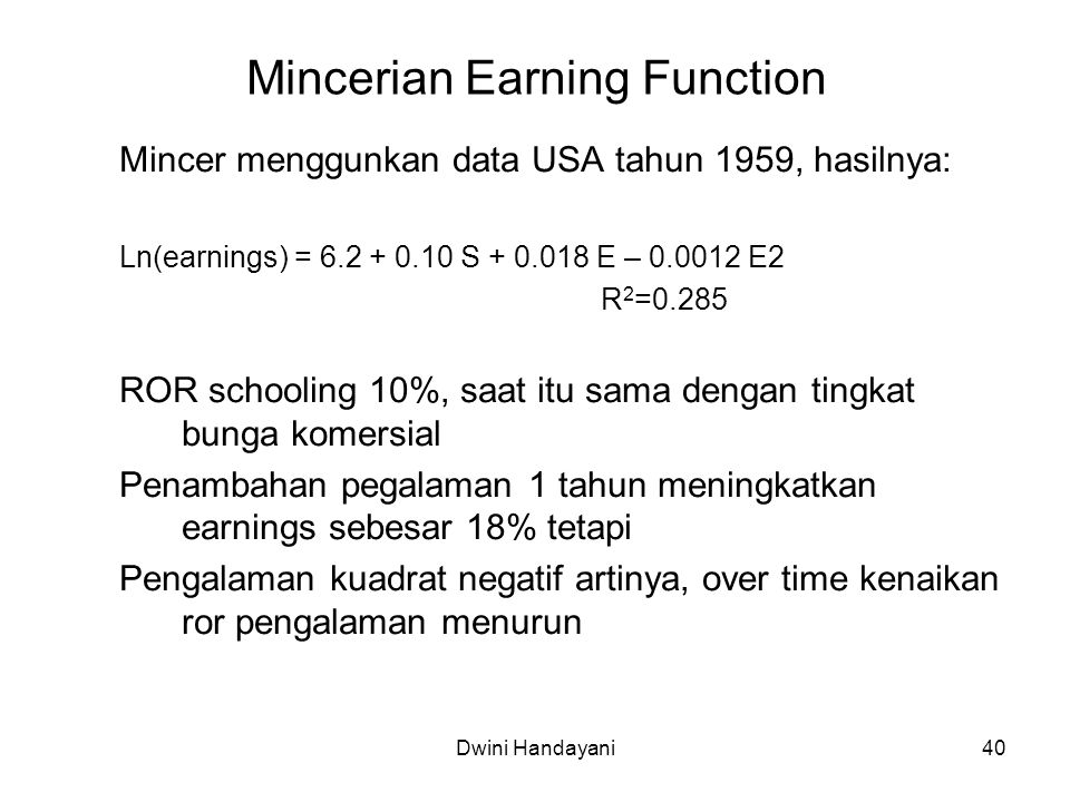 Mincerian Earning Function