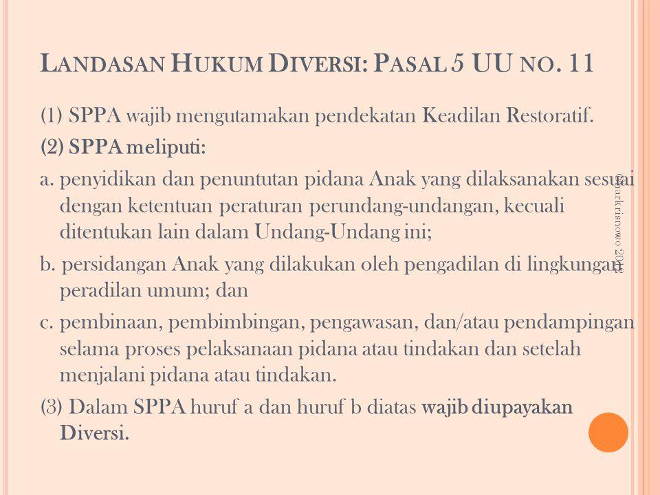 Landasan Hukum Diversi: Pasal 5 UU no. 11