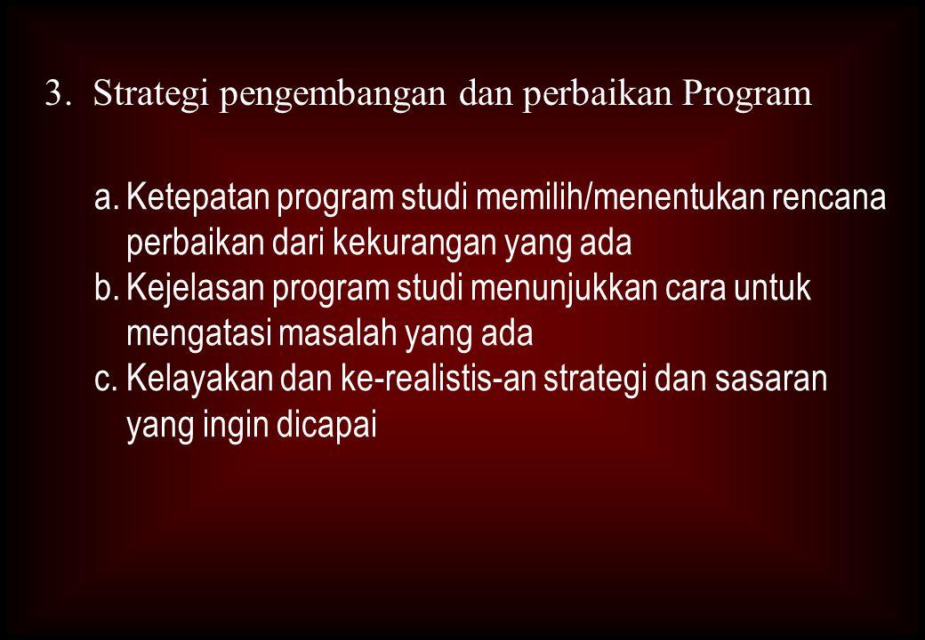3. Strategi pengembangan dan perbaikan Program
