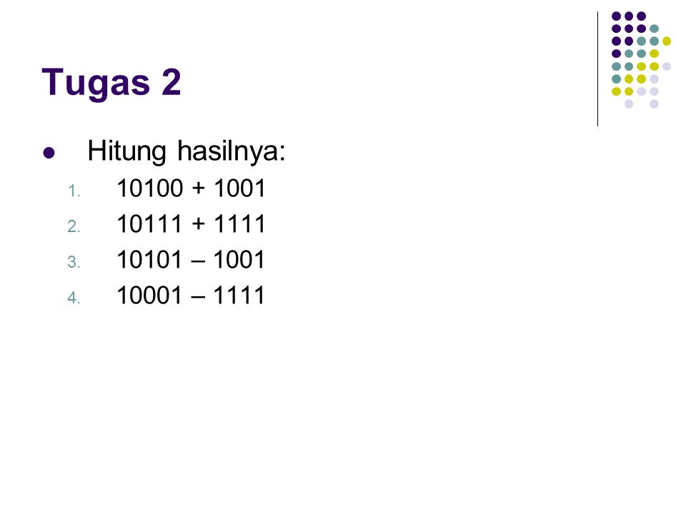 Tugas 2 Hitung hasilnya: 10100 + 1001 10111 + 1111 10101 – 1001