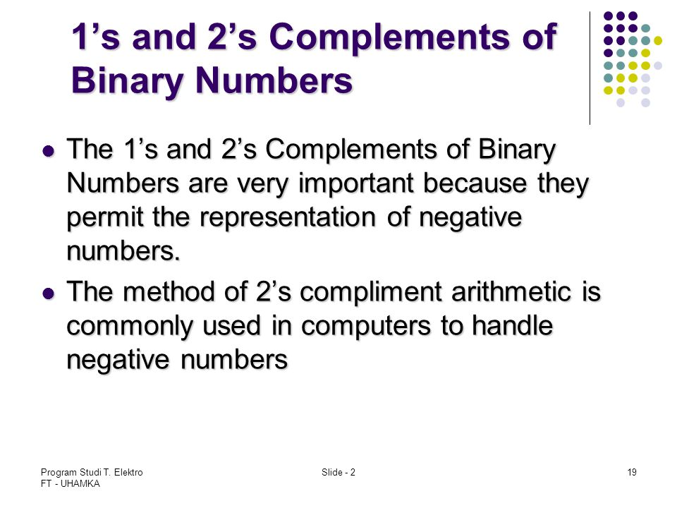 1's and 2's Complements of Binary Numbers