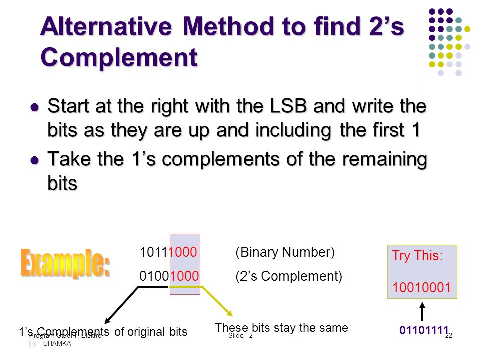 Alternative Method to find 2's Complement
