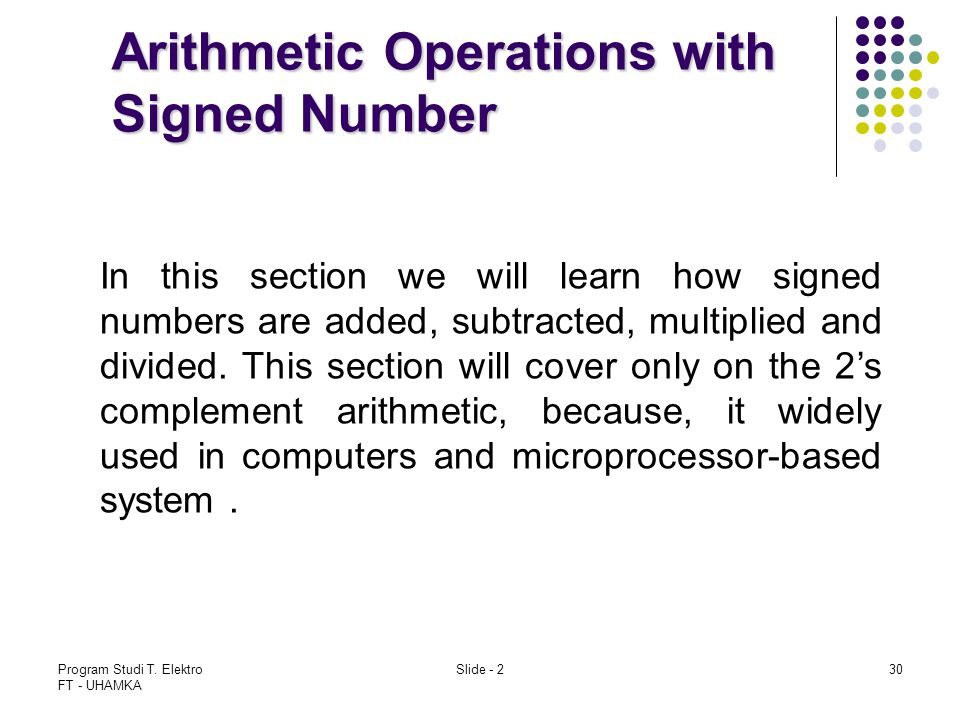 Arithmetic Operations with Signed Number