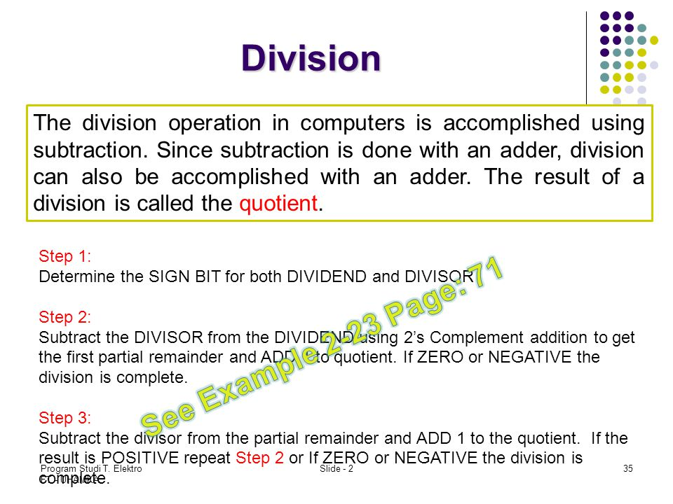 Division See Example 2-23 Page: 71