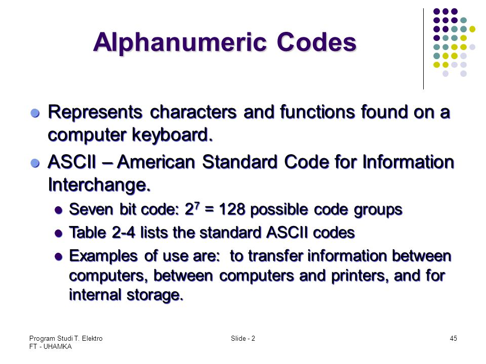 Alphanumeric Codes Represents characters and functions found on a computer keyboard. ASCII – American Standard Code for Information Interchange.