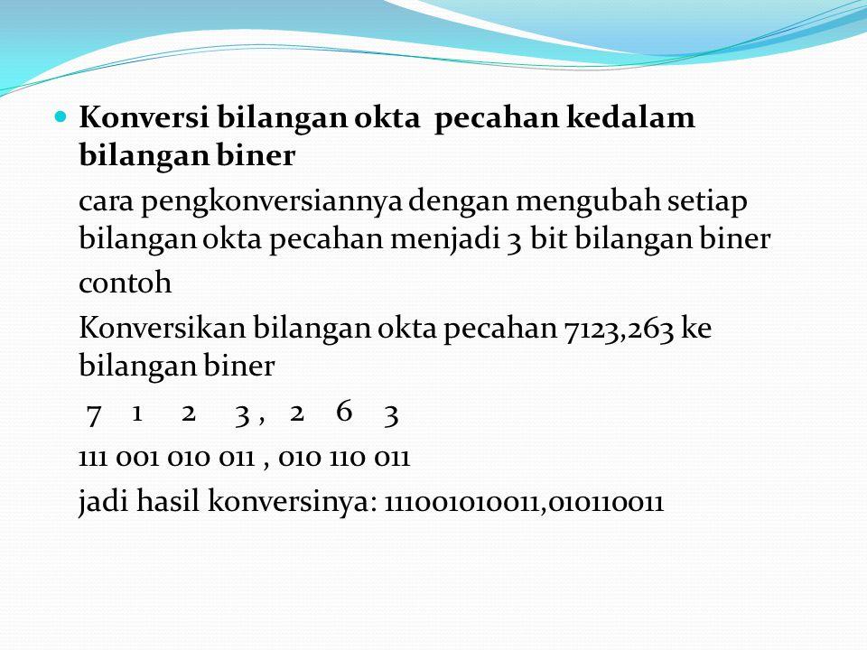 Konversi bilangan okta pecahan kedalam bilangan biner
