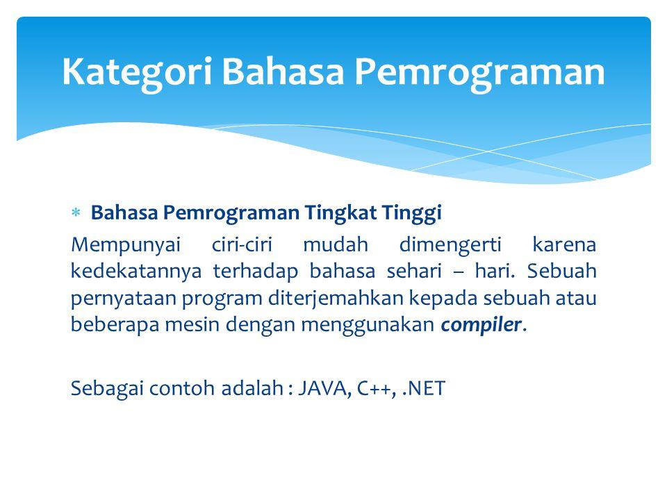 Kategori Bahasa Pemrograman