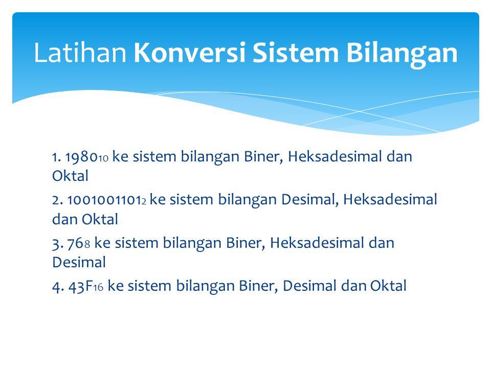 Latihan Konversi Sistem Bilangan