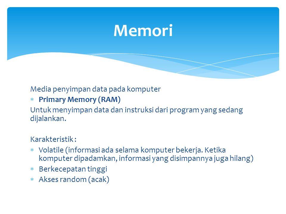 Memori Media penyimpan data pada komputer Primary Memory (RAM)