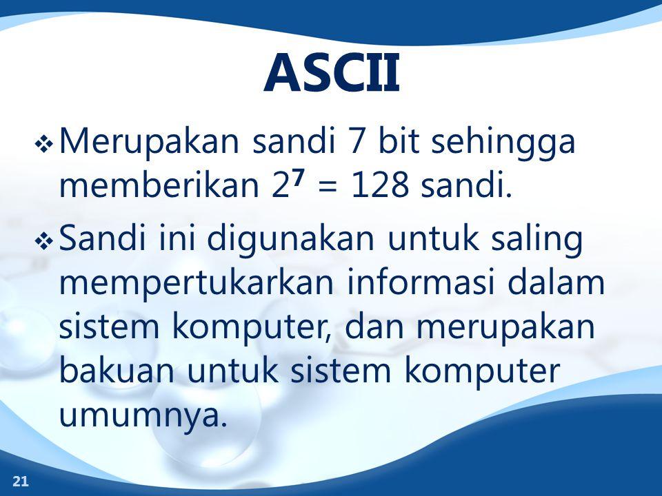 ASCII Merupakan sandi 7 bit sehingga memberikan 27 = 128 sandi.