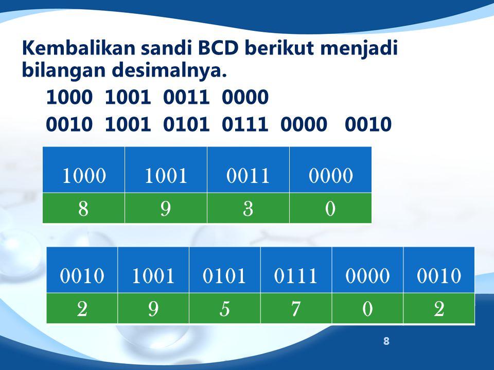 Kembalikan sandi BCD berikut menjadi bilangan desimalnya