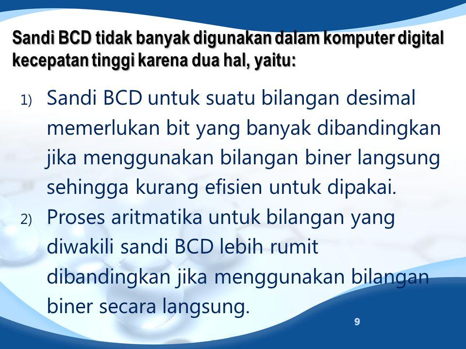 Sandi BCD tidak banyak digunakan dalam komputer digital kecepatan tinggi karena dua hal, yaitu: