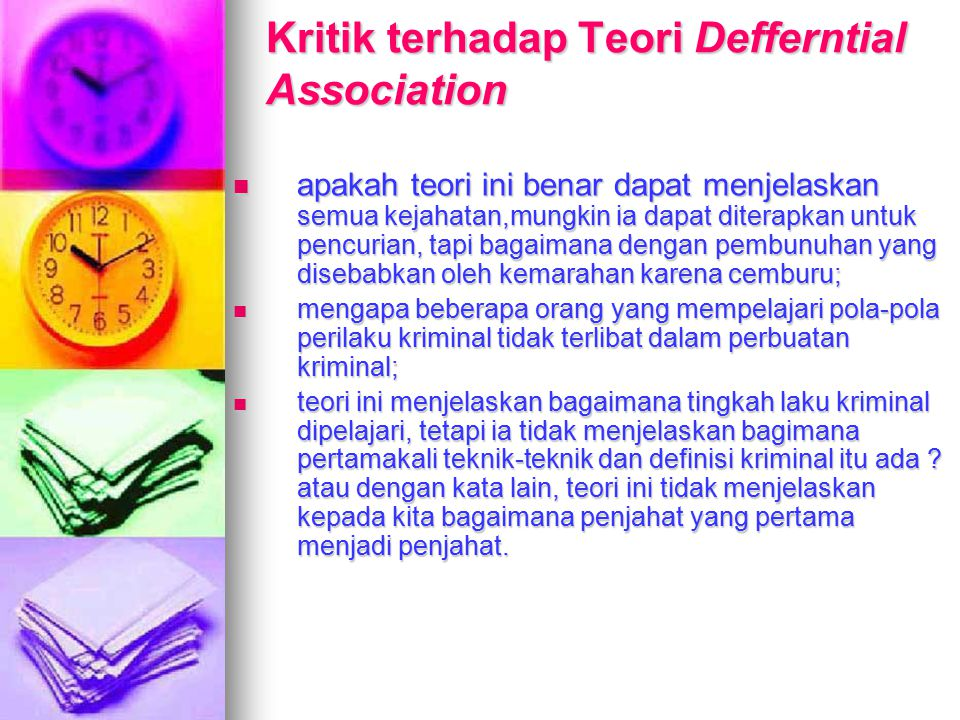 Kritik terhadap Teori Defferntial Association
