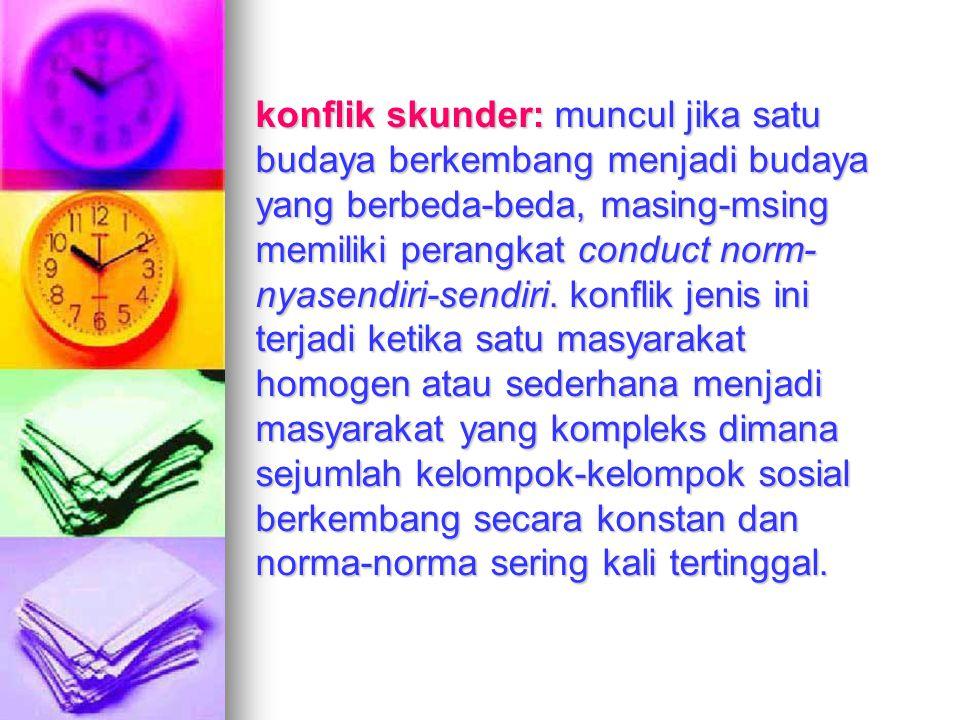 konflik skunder: muncul jika satu budaya berkembang menjadi budaya yang berbeda-beda, masing-msing memiliki perangkat conduct norm-nyasendiri-sendiri.