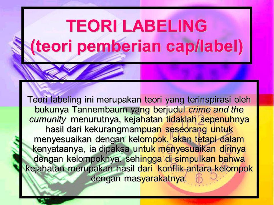 TEORI LABELING (teori pemberian cap/label)