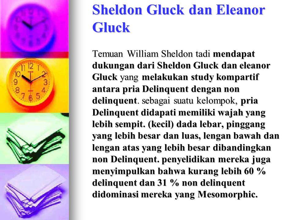 Sheldon Gluck dan Eleanor Gluck Temuan William Sheldon tadi mendapat dukungan dari Sheldon Gluck dan eleanor Gluck yang melakukan study kompartif antara pria Delinquent dengan non delinquent.