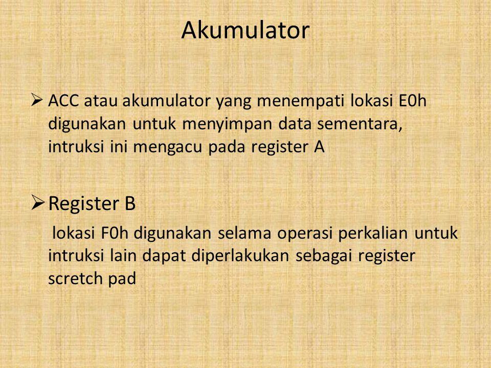 Akumulator ACC atau akumulator yang menempati lokasi E0h digunakan untuk menyimpan data sementara, intruksi ini mengacu pada register A.