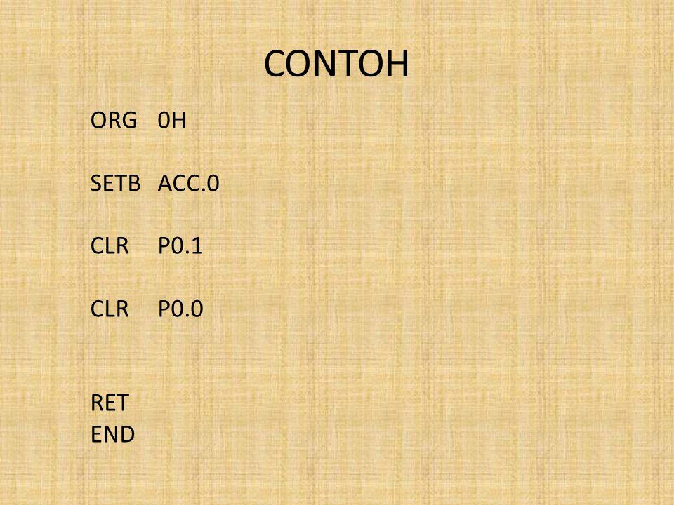 CONTOH ORG 0H SETB ACC.0 CLR P0.1 CLR P0.0 RET END